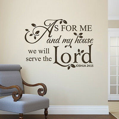Scripture Bible Wall Decal As For Me My House Lord Quote Vinyl Room