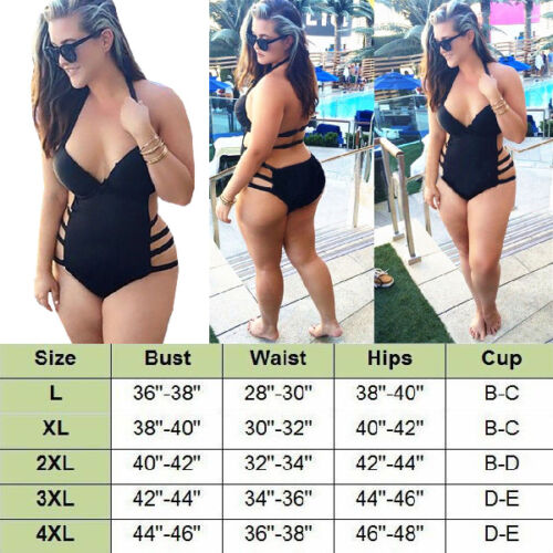 Sexy Womens Plus Size One Piece Monokini Swimwear Push Up Padded Bikini Swimsuit