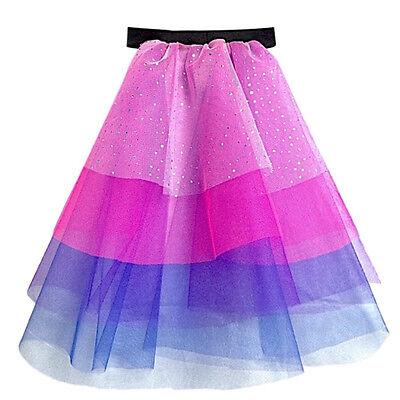 Childrens TWILIGHT SPARKLE layered TUTU MULTI COLOUR FANCY DRESS TAIL COSTUME