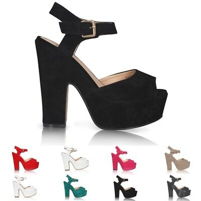 New Womens Ladies Platform High Chunky Heel Peep Toe Ankle Strap Sandals Shoes 3