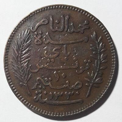 Tunisia 10 Centimes Copper Coin 1912 2
