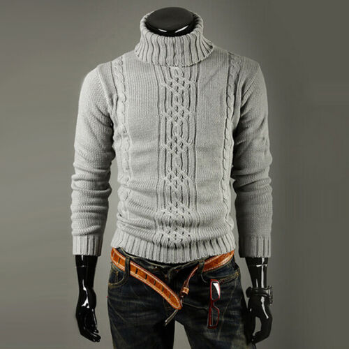 Men Winter Warm Knitted Polo Roll Turtle Neck Pullover Sweater Jumper Shirt Tops