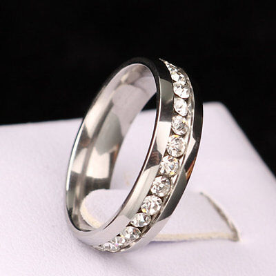 316L Stainless Steel Wedding Silver/Gold Band Men Women Couple CZ Ring Size 5-13 7
