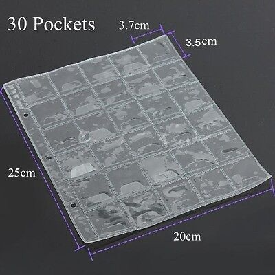 5x 30 Pockets Coin Holders Collection Storage Plastic Money Album Case Envelope 5