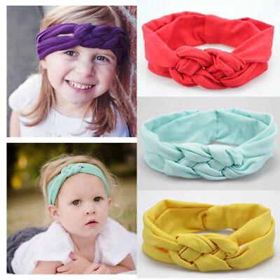 Baby Girls Turban Knot Twist Headband Hair band Head Wrap Cute Kids Floral Plain 6