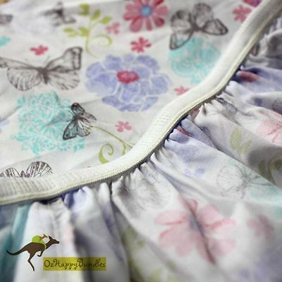 New Baby Girls 4 Pieces Dreamy Butterfly Cotton Nursery Bedding Crib Cot Sets