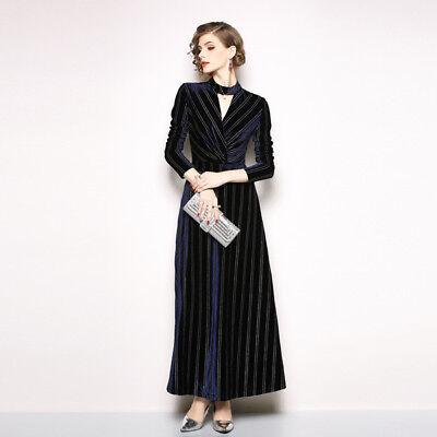 new product faab9 08771 VESTITO LUNGO ABITO scampanato donna elegante blu velluto moda manica 4785