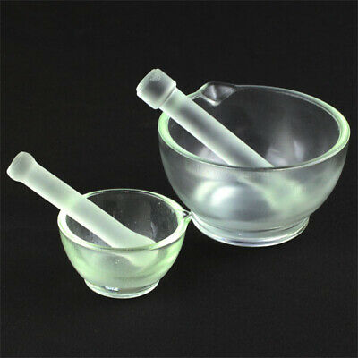 Borosilicate Lab 60mm-150mm glassware Chemistry Mortar Pestle 3