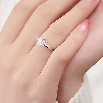 Classic 925 Silver Round Cut White Sapphire Engagement Ring Bridal Jewelry Gifts 2