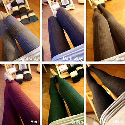 Women Winter Cable Knit Sweater Footed Tights Warm Stretch Stockings Pantyhose j 3