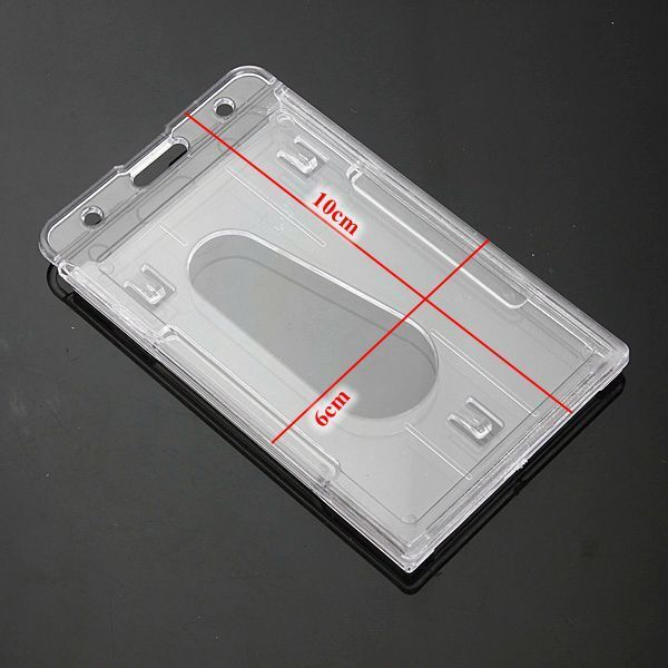 5x Plastic Badge ID Holder Double Side Card Vertical Hard Multi Transparent AU 2