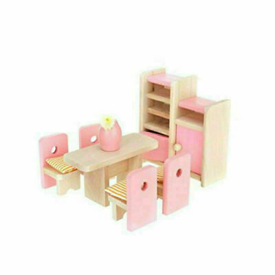 Kid Pink Wooden Furniture Dolls House Miniature 6 Room Set Doll For Gift DIY New 10