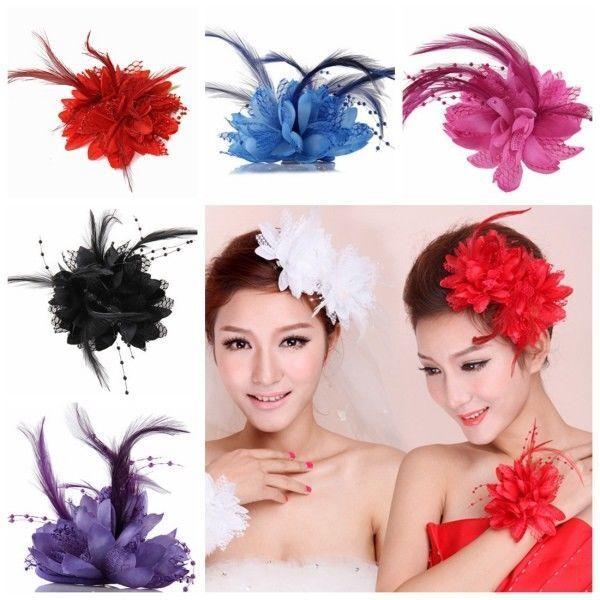 Flower Feather Hat Hairgrip Hairpins Fascinator Hair Tools Headpiece Hair Clips 5