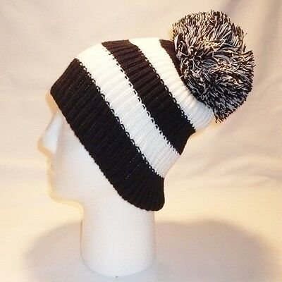 Luxury Fleece Lined Bobble Hat Beanie Mens Women Retro Football Winter Warm Pom 10