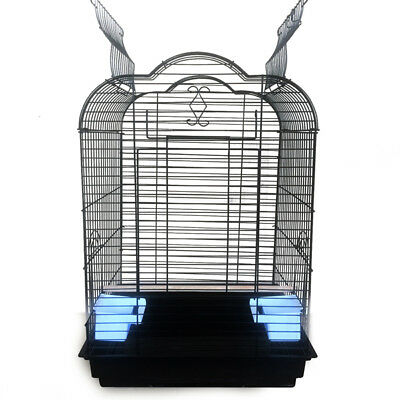 Pet Bird Cage Parrot Aviary Canary Budgie Finch Perch Black Portable w/ Perches 8