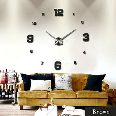 Art 3D DIY Large Number Mirror Clock Wall Sticker Home Office Room Decor Craft