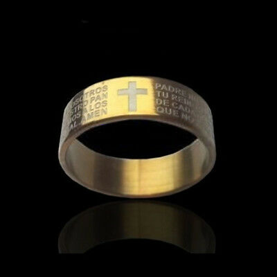 Anello Padre Croce Fascia Preghiera Nostro Acciaio Religione Uomo Donna Unisex j 2