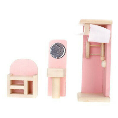 Kid Pink Wooden Furniture Dolls House Miniature 6 Room Set Doll For Gift DIY AR 8