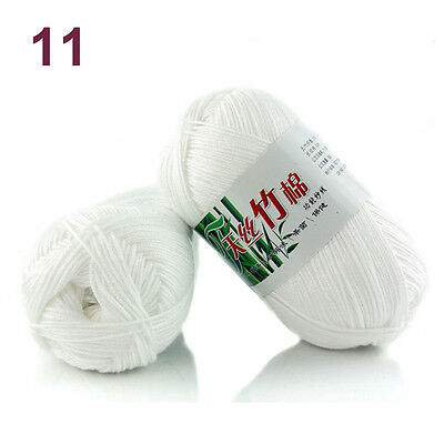 50g Soft Baby Knitting wool Natural Crochet Bamboo Cotton Hand Yarn 55 colors 10