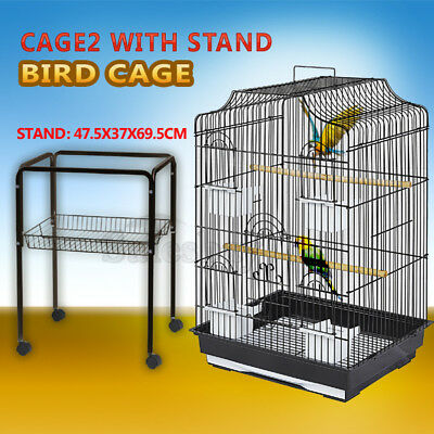 Pet Bird Cage Parrot Aviary Canary Budgie Finch Perch Black Portable w/ Perches 11