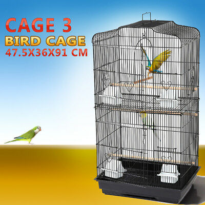 Pet Bird Cage Parrot Aviary Canary Budgie Finch Perch Black Portable w/ Perches 12