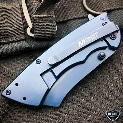 TACTICAL Spring Assisted Open Pocket Knife CLEAVER RAZOR FOLDING Blade NEW 4