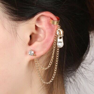 Womens Ear Cuff Earrings Wrap Fashion Clip On Punk Rock Cuffs Fake Stud Silver 7