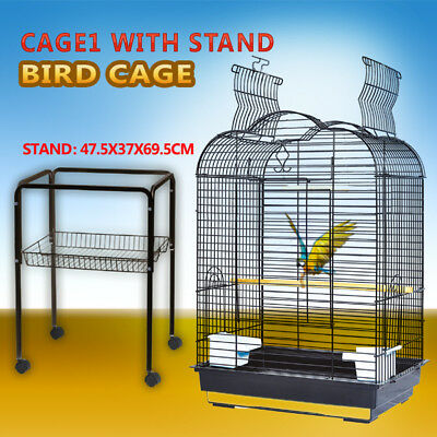 Pet Bird Cage Parrot Aviary Canary Budgie Finch Perch Black Portable w/ Perches 4