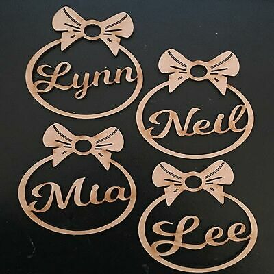 Personalised Christmas Tree Decoration Baubles Wooden Shapes gift tags Xmas 4