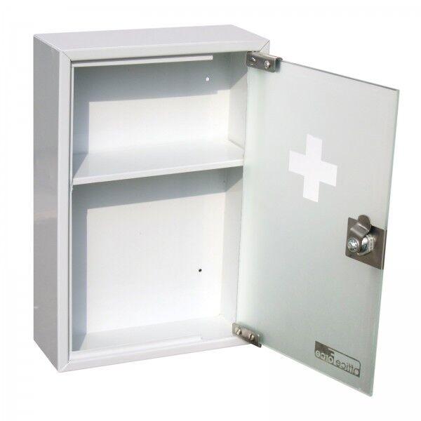 OfficeForce Medizinschrank mit Glastür Metall Erste Hilfe Schrank Hausapotheke 3