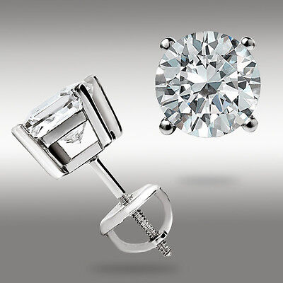 2.00 CT Round Earrings 14K Solid White Gold Basket Studs Brilliant Screw Back 3