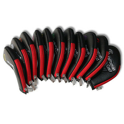 11pcs Golf Iron Headcovers Zipper Covers Pu Leather For Taylormade Titleist 4