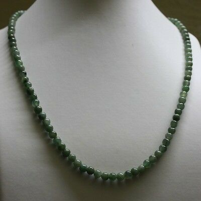 "Genuine 100% Natural JADE Type A Beautiful Oily Green Jadeite Necklace 5.2mm 19"" 2"