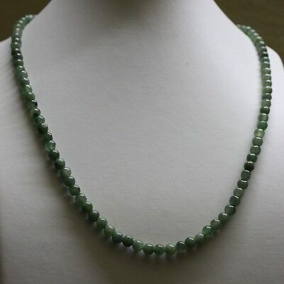 "Genuine 100% Natural Type A Jadeite JADE Beautiful Oily Green Necklace 5.2mm 19"" 2"