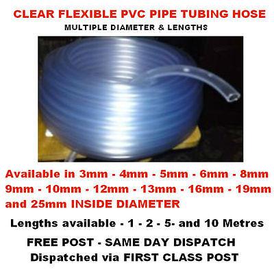 Clear Pvc Flexible Tubing Fish Pond Hydroponics Plastic Hose Water Pipe Tube Uk