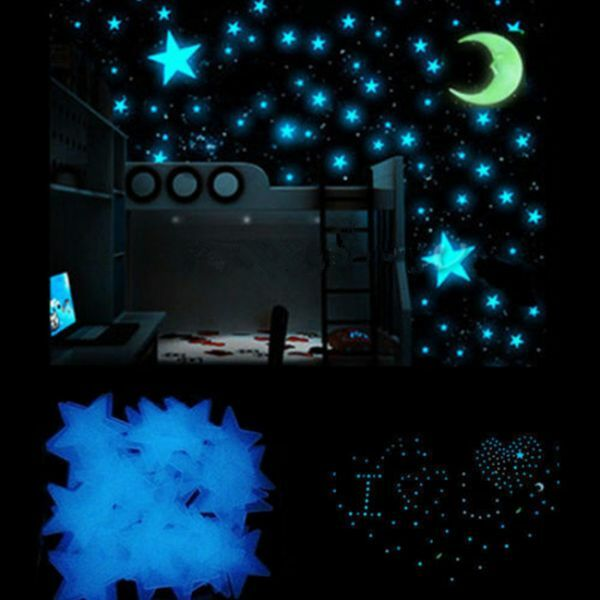 100Pcs Stars and Moon Glow In The Dark Wall Stickers Kid Bedroom Ceiling Decor 2