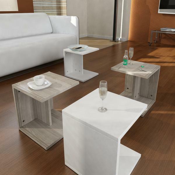 Couchtisch Weiss Wohnzimmertisch Holz Beistelltisch Modern