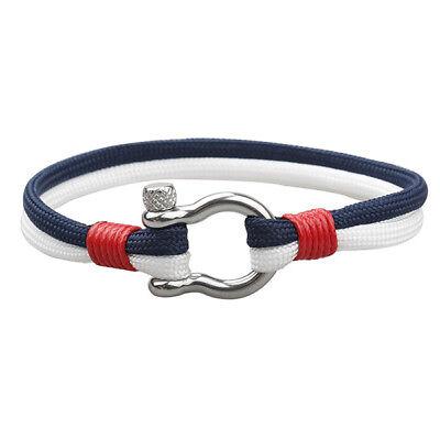 1PC Stainless Steel U Shaped Buckle Paracord Rope Women Men Gift Bracelet 5
