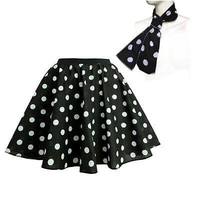 Kids Polka Dot Skirt or Waistcoat Ladies Girls 50's Rock n Roll Grease Costume 6