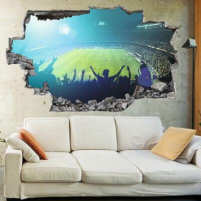BOYS FOOTBALL GOAL Score Stadium Kids 3D Wall Mural Photo Wallpaper