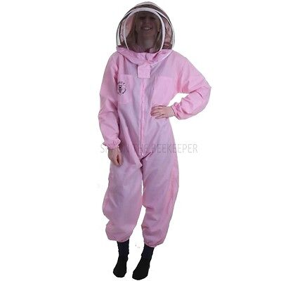 Buzz Basic Beekeeping Bee Suit (Pink) With Round and Fencing Veil And Gloves 6