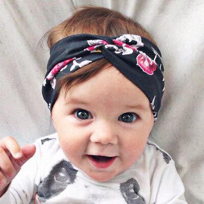 Baby Girls Turban Knot Twist Headband Hair band Head Wrap Cute Kids Floral Plain 8
