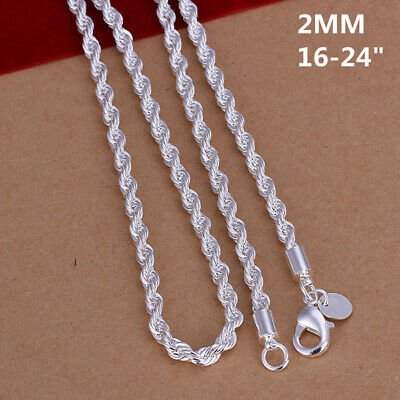 Fashion 925sterling Solid Silver 4MM Snake Rope Chain Men Necklace 16-24 inch 3