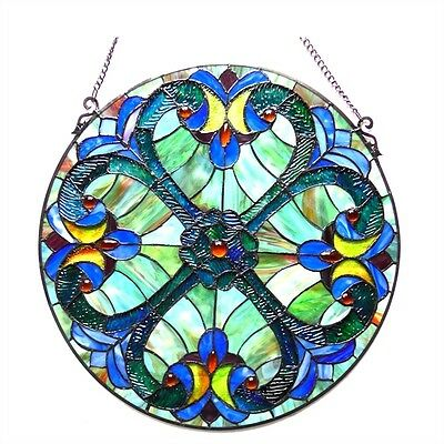 "Tiffany Style Stained Cut Glass 20"" Diameter Round Window Panel Stunning Design 2"