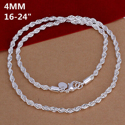 Fashion 925sterling Solid Silver 4MM Snake Rope Chain Men Necklace 16-24 inch 2