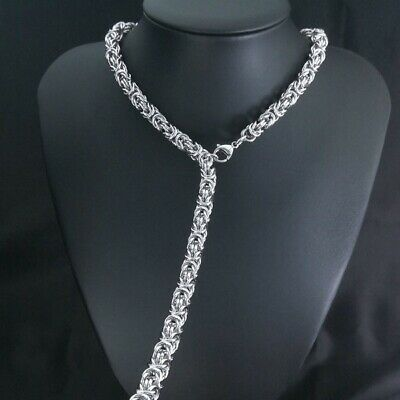 Stainless Steel 316L 8mm width mens womens necklace Necklace418 silver tone 2