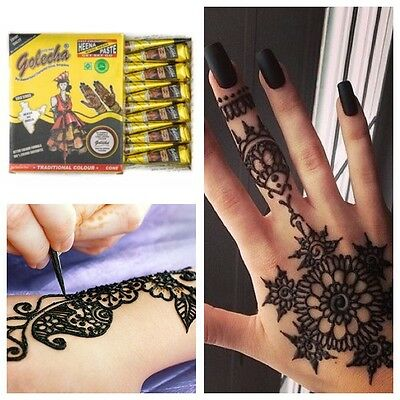 f63199579fec9 ... 3FREE Shipping 6 X IMPORTED GOLECHA BLACK Henna Paste Mehndi Cones  African Temporary Tattoo 2