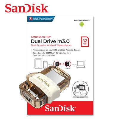 NEW SanDisk 32GB Ultra Dual Micro USB 3.0 SDDD2-032G-A #3765