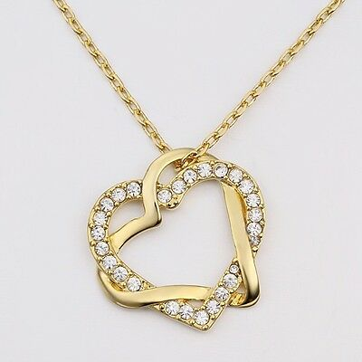 New 18K Gold Filled Women's Love Heart Pendant Necklace With Swarovski Crystal 2