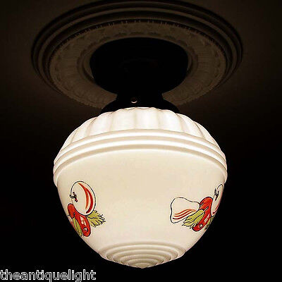 181 Vintage 30's 40s Ceiling Light Lamp Fixture Glass kitchen Re-Wired 4